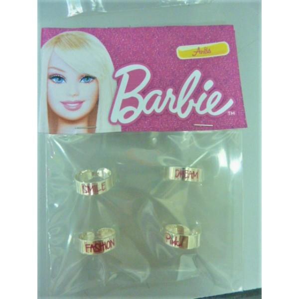 Barbie kids metal ring 4 pcs set