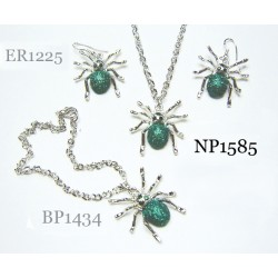 Women Fashion Jewelry set - Spider pendant Necklace, bracelet + Earring