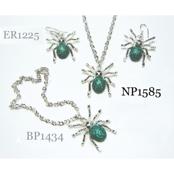 Women Fashion Jewelry set - Spider pendant Necklace, bracelet + Earring